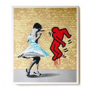 ステンシルアート作品「Dance with K (Blue girl Edition)」